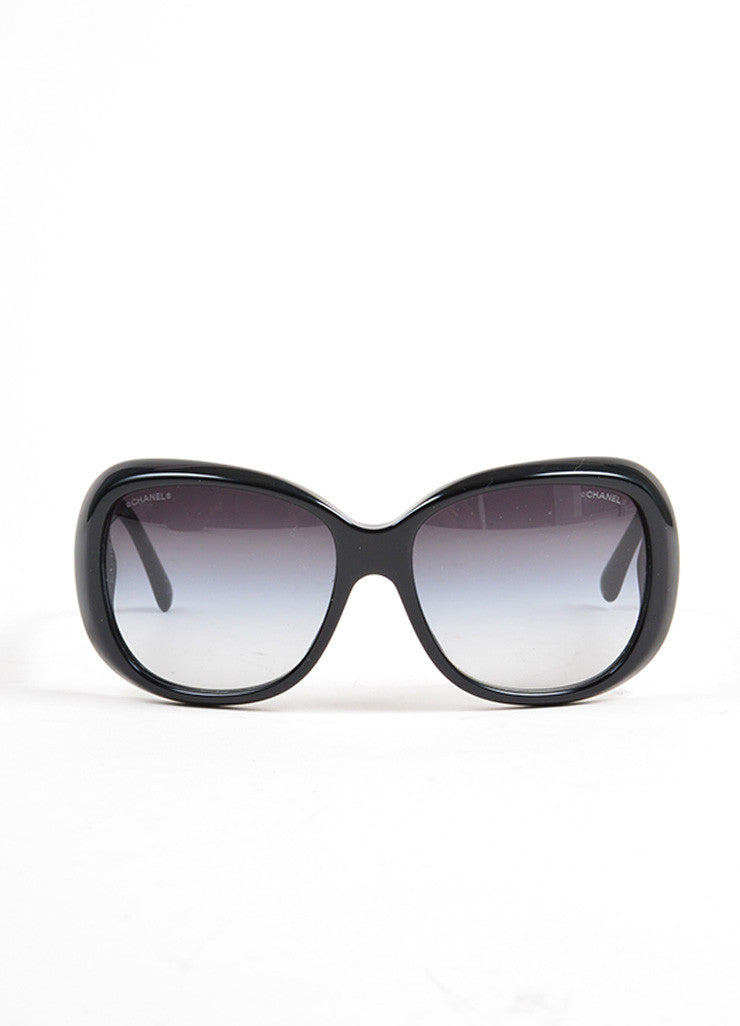 "Black and Silver Toned Chanel Plastic ""5248"" Flower 'CC' Oversized Sunglasses Frontview"
