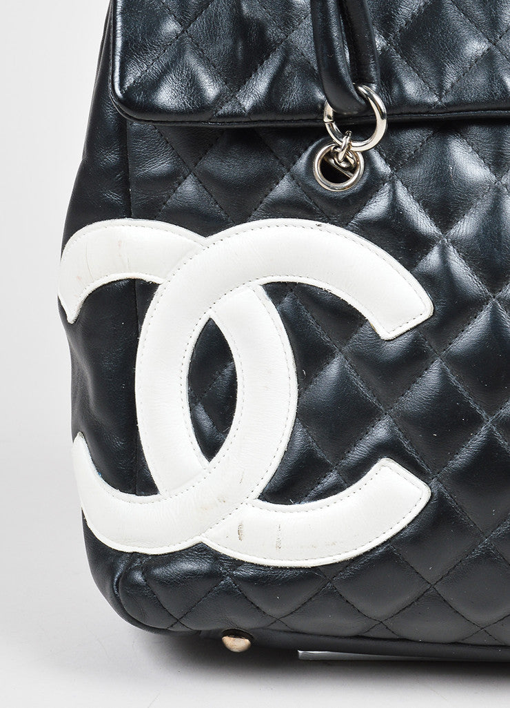 "Black and White Chanel Quilted Leather 'CC' ""Ligne Cambon"" Flap Bag Detail 3"
