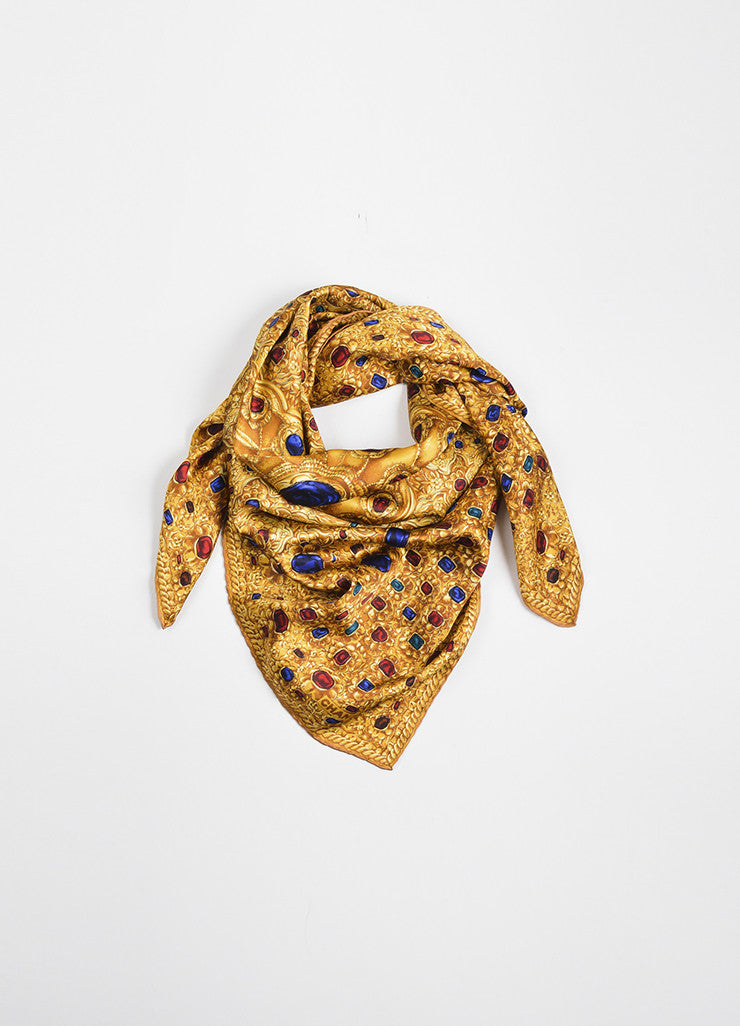 Gold, Red, and Blue Chanel Silk Jewel Chain Print Square Scarf Frontview