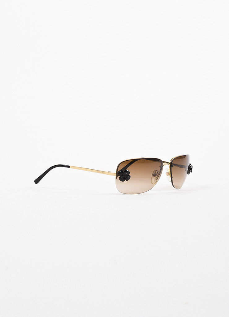 "Chanel Gold Toned and Brown Frameless Camellia Floral Accent ""4135"" Sunglasses Sideview"
