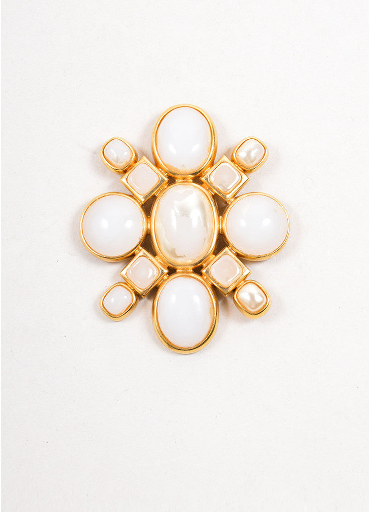 Chanel Gold Toned and White Round Square Stone Geometric Brooch Frontview