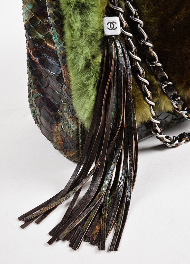 Chanel Green and Brown Chinchilla Fur and Python Leather Jumbo Classic Flap Bag Detail 3