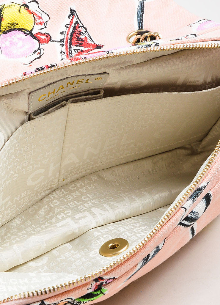 Chanel Pink Printed Canvas Ice Cream Sundaes Collection 'CC' Flap Bag Interior