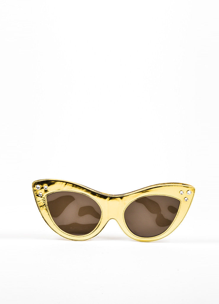 Charlotte Olympia Gold Metallic Leather Rhinestone Oversized Sunglasses Clutch Bag Frontview