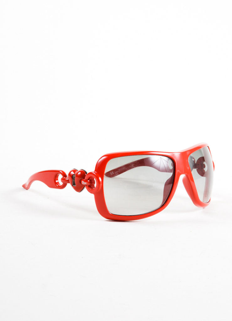 "Christian Dior Red Oversized Frame Heart Arm Detail ""Dior Lock"" Sunglasses Sideview"