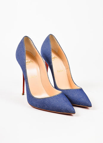 "Christian Louboutin Blue Denim White Leather Heel ""So Kate"" Pointy Pumps Frontview"