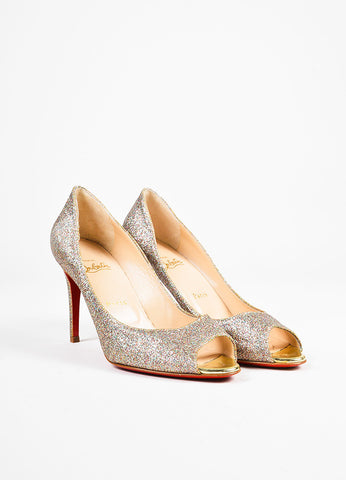"Christian Louboutin Multicolor Mini Glitter ""You You 85"" Peep Toe Pumps front"