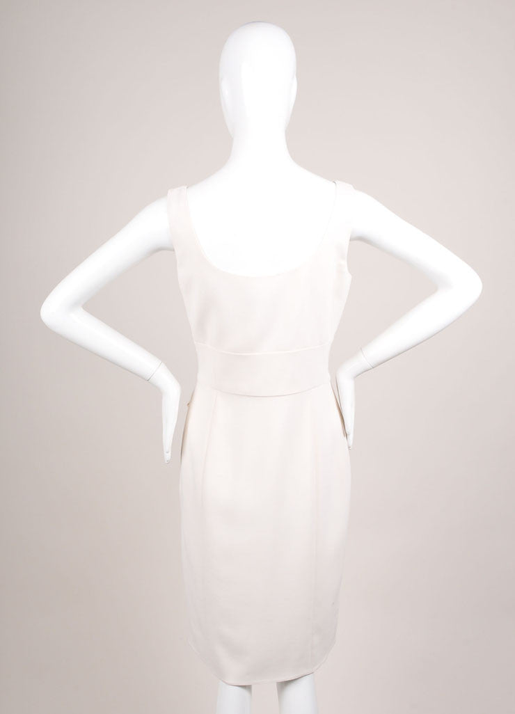 Giorgio Armani Cream Pleated Bow Wrap Sleeveless Shift Dress Backview