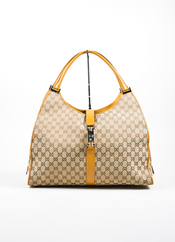 Gucci Beige Canvas Leather Monogram Shoulder Bag Front