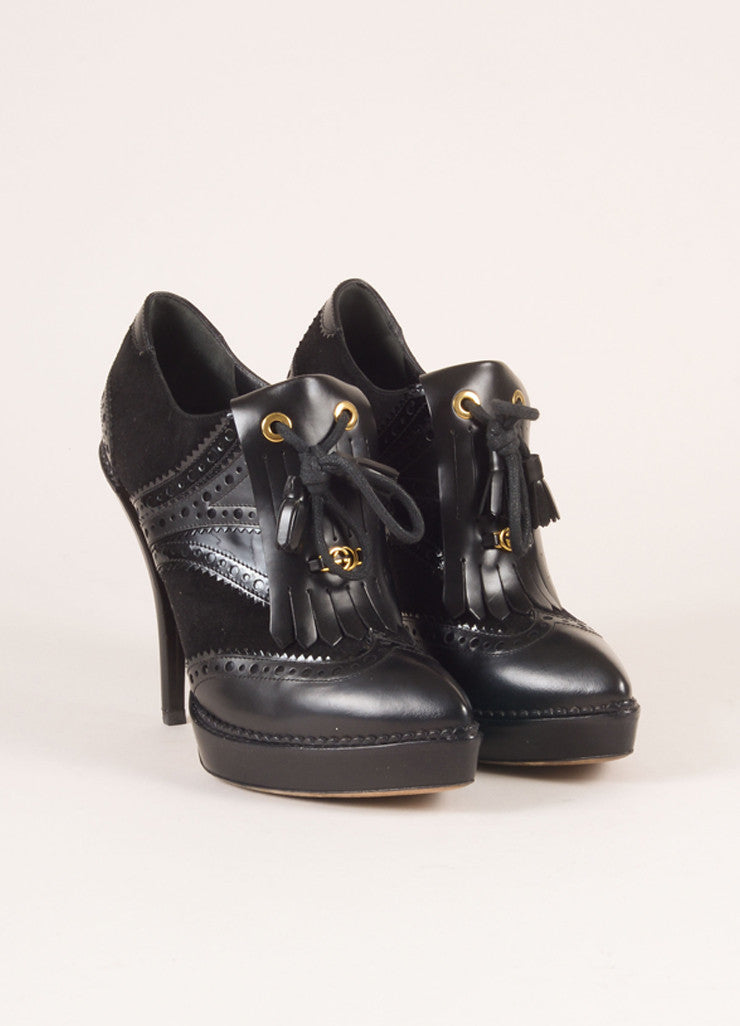 "Gucci Black Suede Leather Kiltie Tassel ""Riddle"" Platform Booties Frontivew"