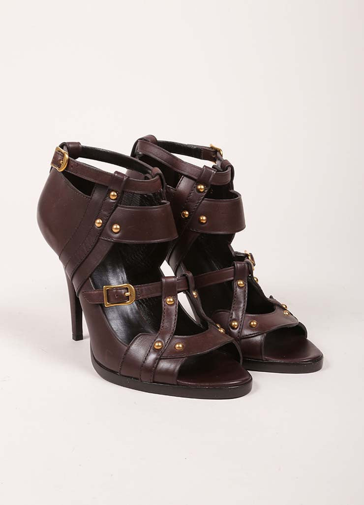 Gucci Brown Leather Studded Cut Out Ankle Strap Gladiator Sandals Frontview