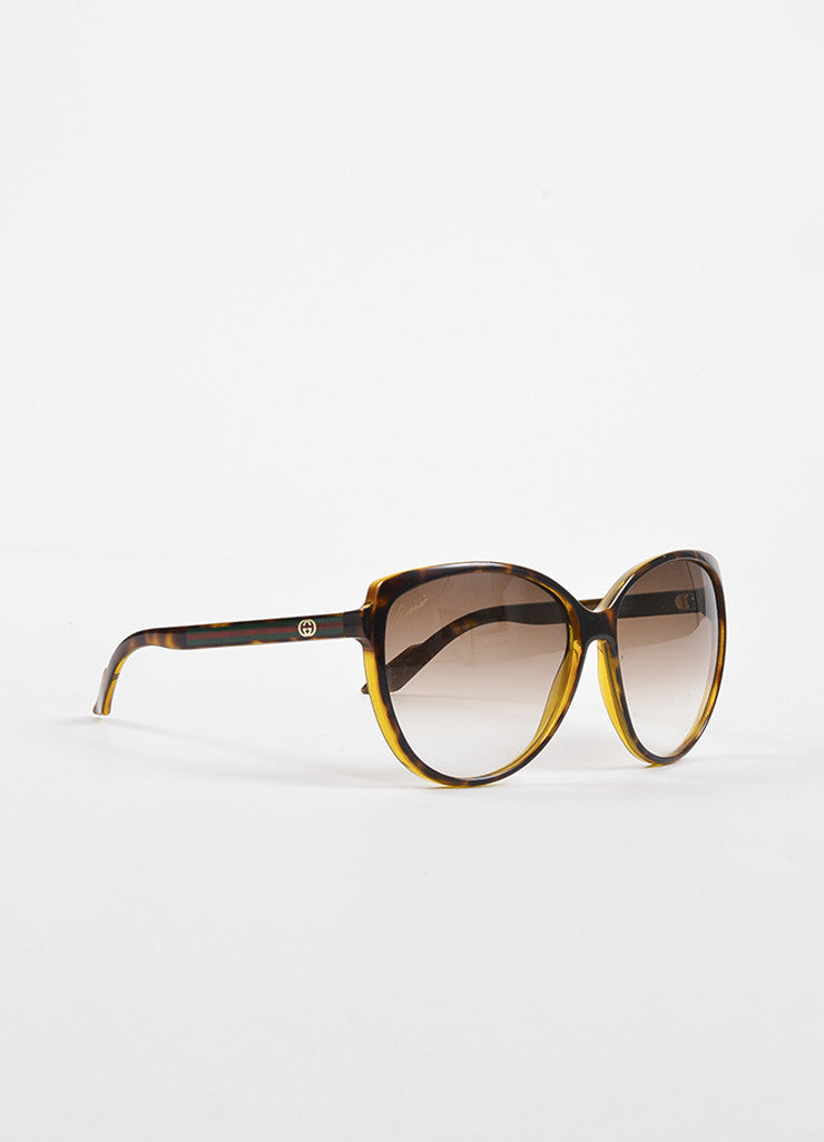 Gucci Brown Tortoise Shell Gradient Lens Web Temple Cat Eye Sunglasses Sideview