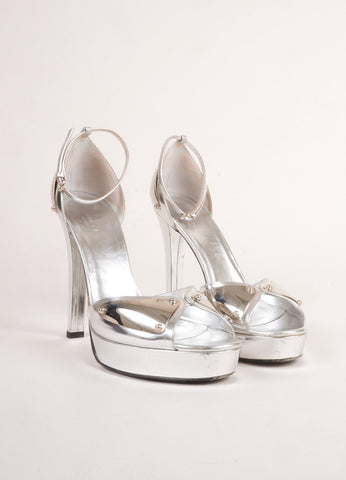 Gucci Metallic Silver Patent Leather Metal Ankle Strap Open Toe Heels Frontview