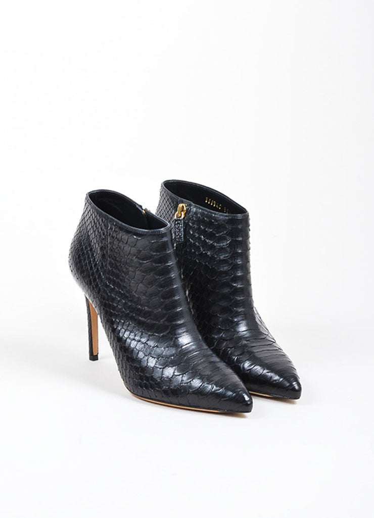 "Black Gucci Python ""Brooke 95mm"" Pointed Toe Booties Frontview"