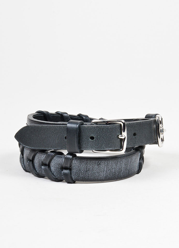 Black and Silver Toned Hermes Leather Braided Dual Buckled Belt Frontview