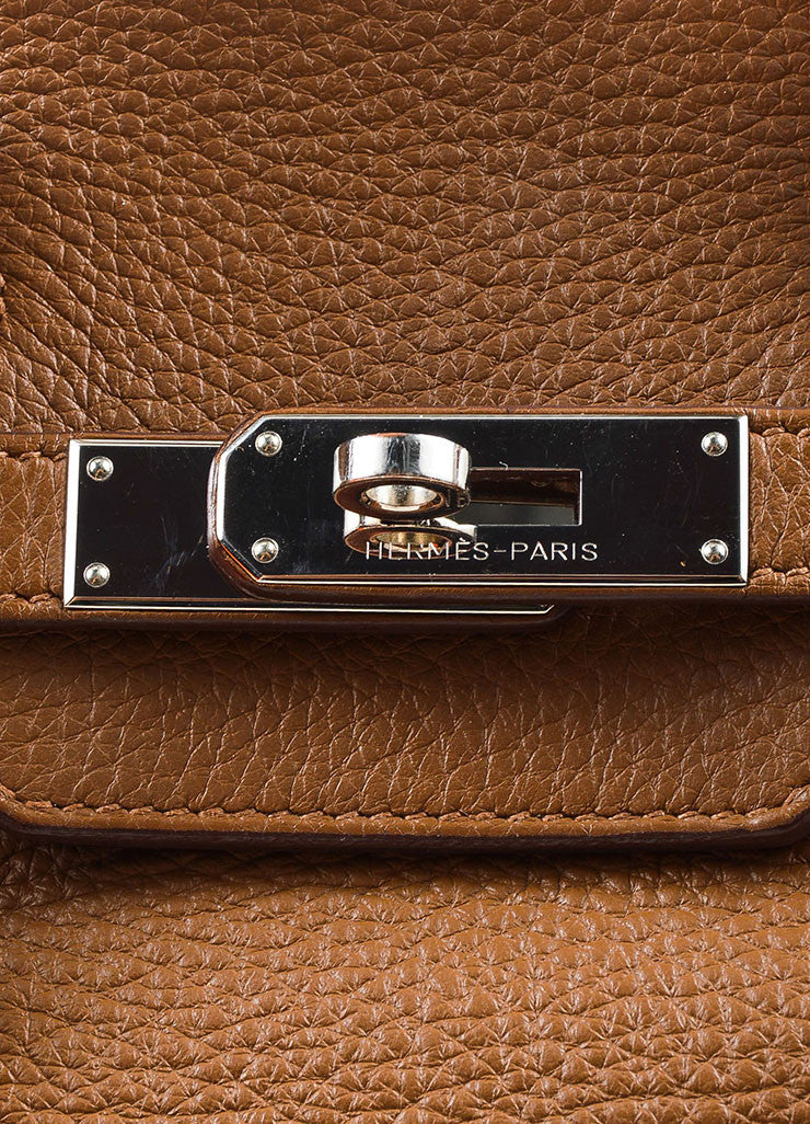 "Hermes ""Alezan"" Brown Clemence Leather Silver Toned Hardware 35 cm ""Birkin"" Bag Detail 3"