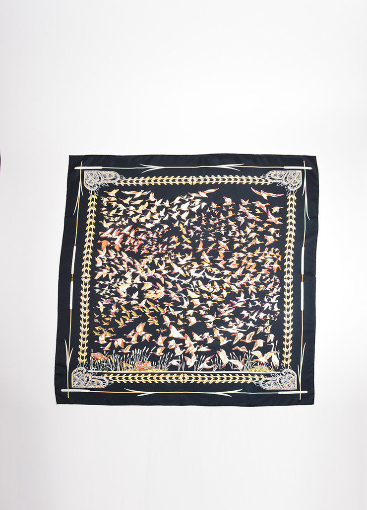 "Hermes Black and Gold Silk Twill ""Libres Comme l'Air"" Duck Print 90cm Scarf Frontview"
