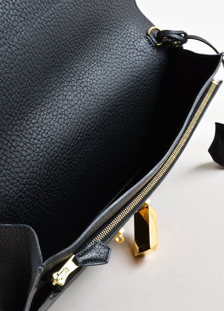 "Hermes Black and Gold Toned ""Clemence"" Leather ""Jet"" Clutch Bag Interior"