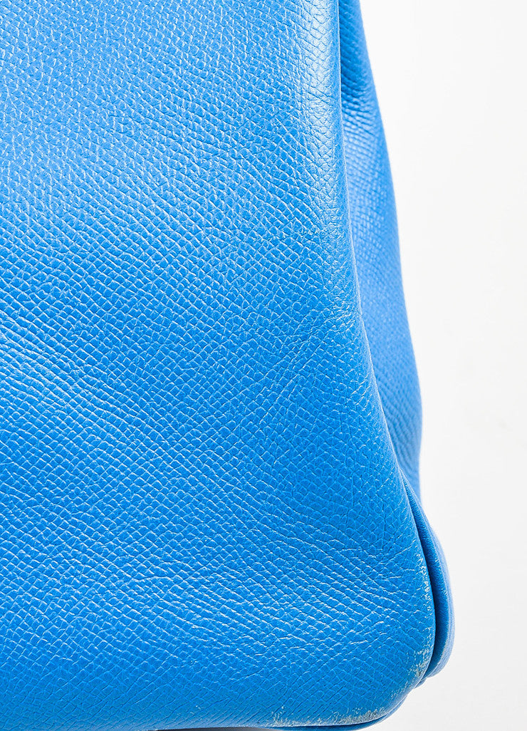 "Hermes Bleu de Galice Epsom Leather Palladium Hardware ""Birkin"" Bag Detail 4"