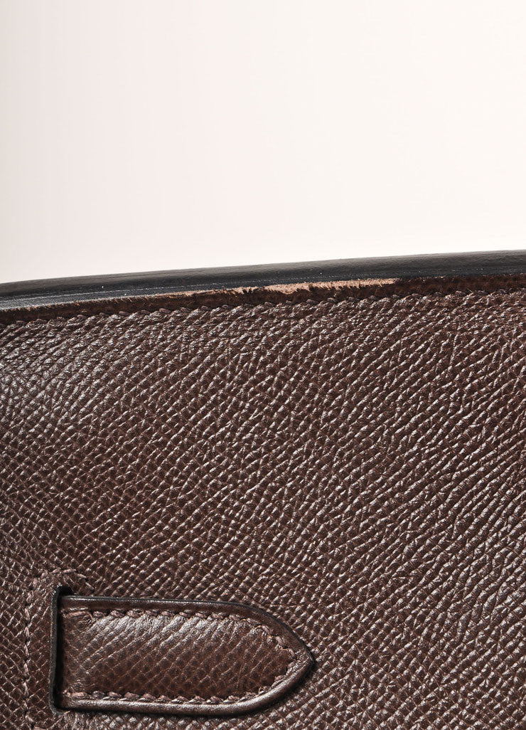"Chocolate Brown and Gold Toned Hermes Epsom Leather 35 cm ""Birkin"" Bag Detail 4"