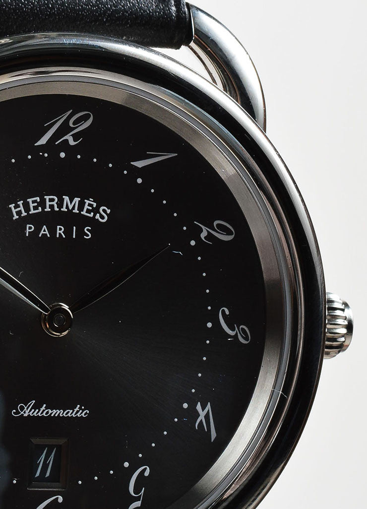 "Hermes Stainless Steel and Black Leather ""Arceau TGM"" Automatic Watch"