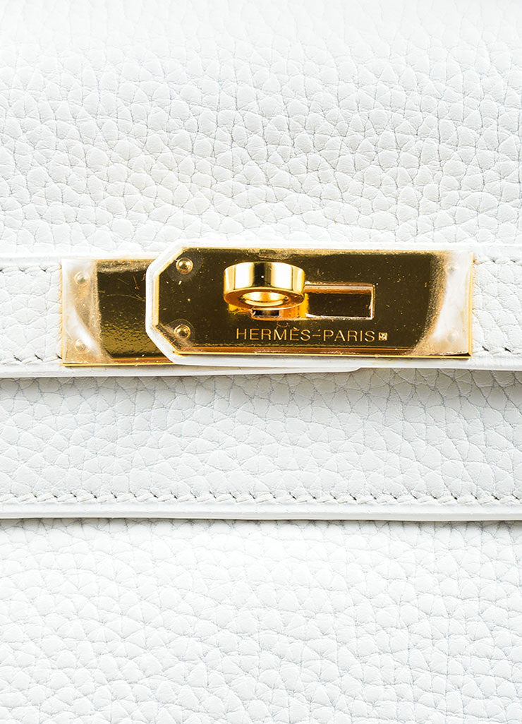 "Hermes Blanc White Clemence Leather Gold Toned Hardware ""Kelly"" 35cm Bag Detail 3"