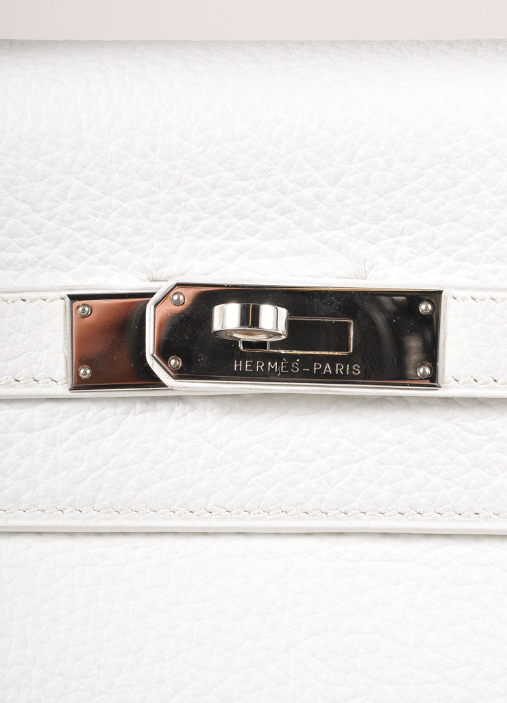"Hermes New Without Tags White and Silver Toned Togo Leather 32cm Two Way ""Kelly"" Bag Detail 3"