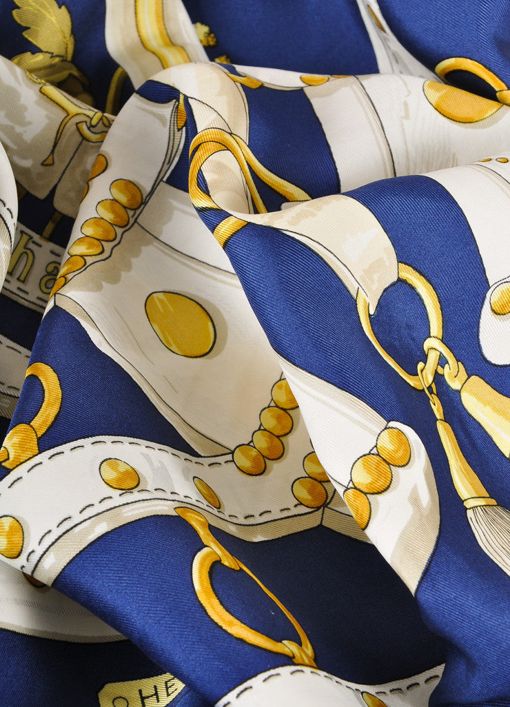 "Hermes Navy, Cream, and Gold Silk ""Aux Champs"" Chain Flower Print Scarf Detail"