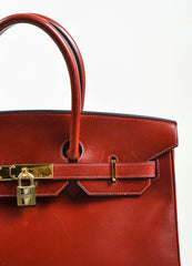 "Hermes Oxblood Red Box Calf Leather 35cm ""Birkin"" Handbag Detail 3"