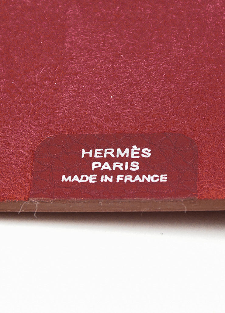 "Red Pebbled Leather Hermes ""Ulysse PM"" Agenda Notebook Cover with Paper Refill Brand"