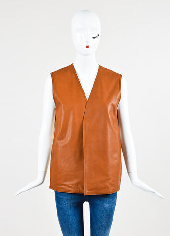 Hermes Tan and Beige Leather Knit Back Vest Frontview 2