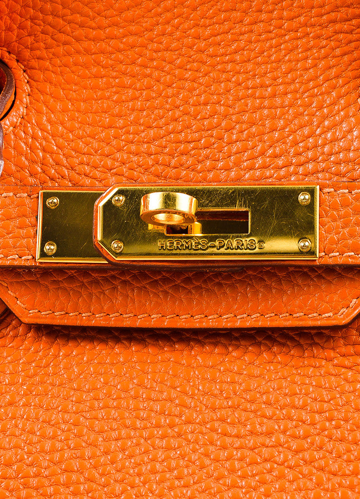 "Hermes Tangerine Orange Clemence Grain Leather Top Handle ""Birkin 30"" Tote Bag Detail 3"