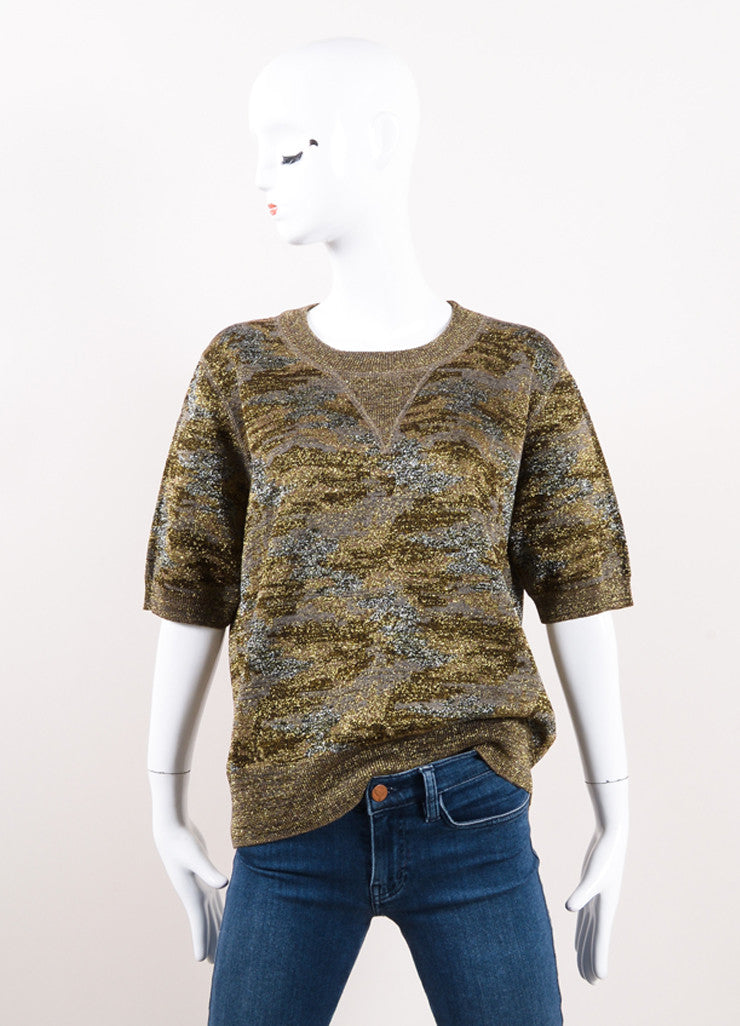 "Isabel Marant Multicolor Metallic Camo Print ""Watson"" Short Sleeve Sweater Frontview"