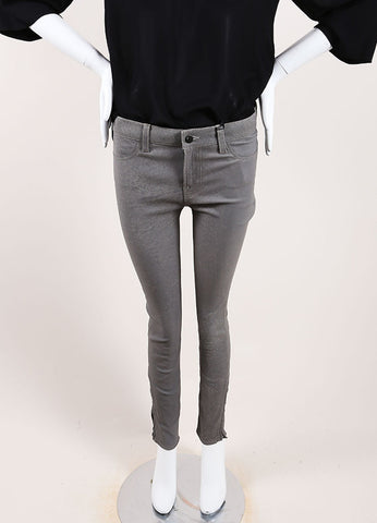 "J Brand Grey ""Rock"" Super Skinny Distressed Leather Pants Frontview"