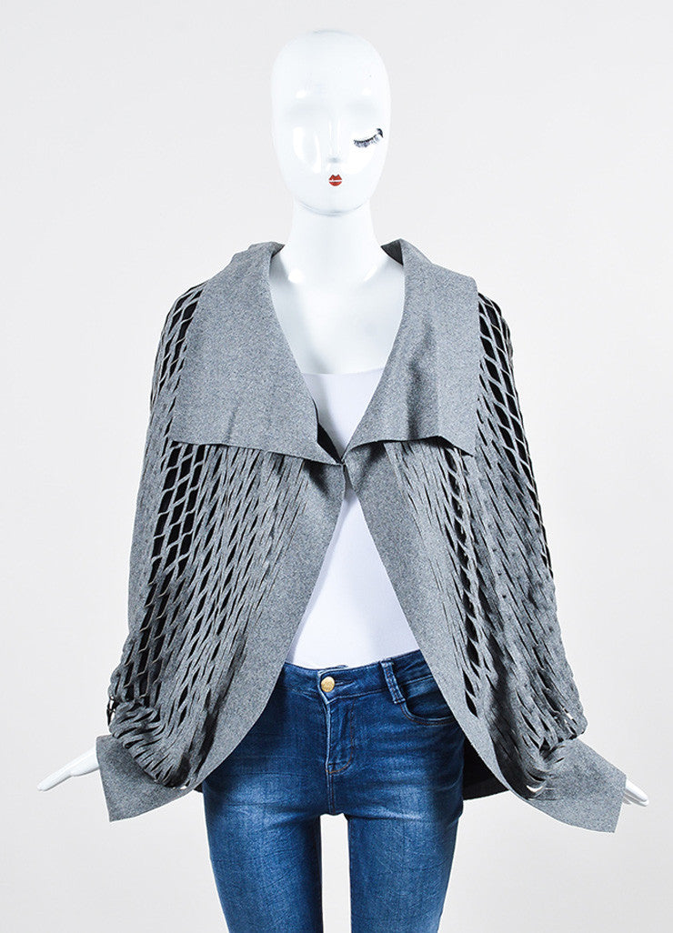 Grey and Black Jay Ahr Wool Blend Cut Outs Cape Frontview