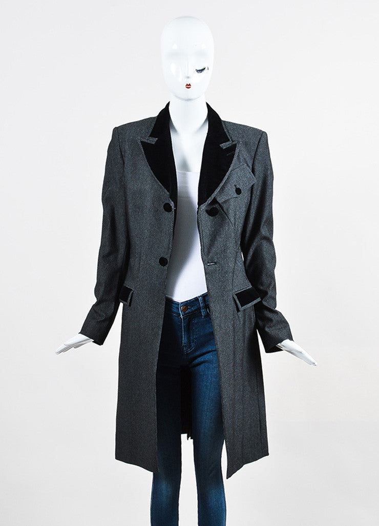 Black and Grey Jean Paul Gaultier Classique Velvet Collar Tail Coat Frontview