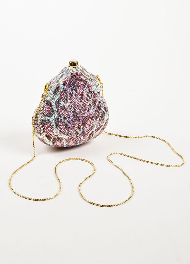Judith Leiber Pink, Purple, and Clear Crystal Leopard Print Clutch Frame Evening Bag Backview