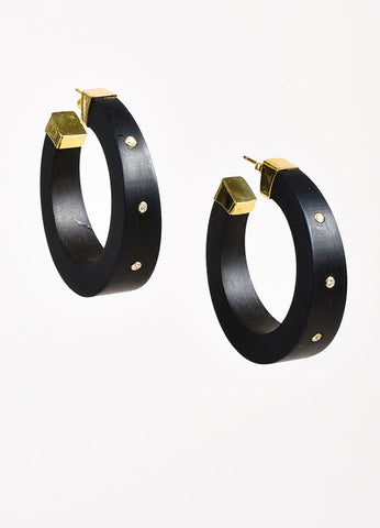 Kara Ross 18K Gold Ebony Diamond Open Hoop Earrings Frontview