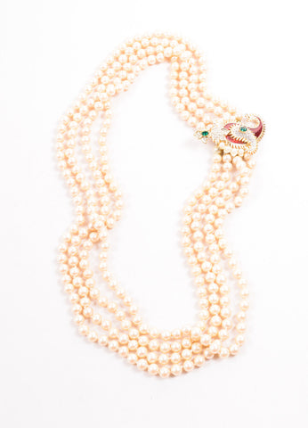 Kenneth Lane Gold Toned, Red, and Green Faux Pearl Paisley Pendant Necklace Frontview