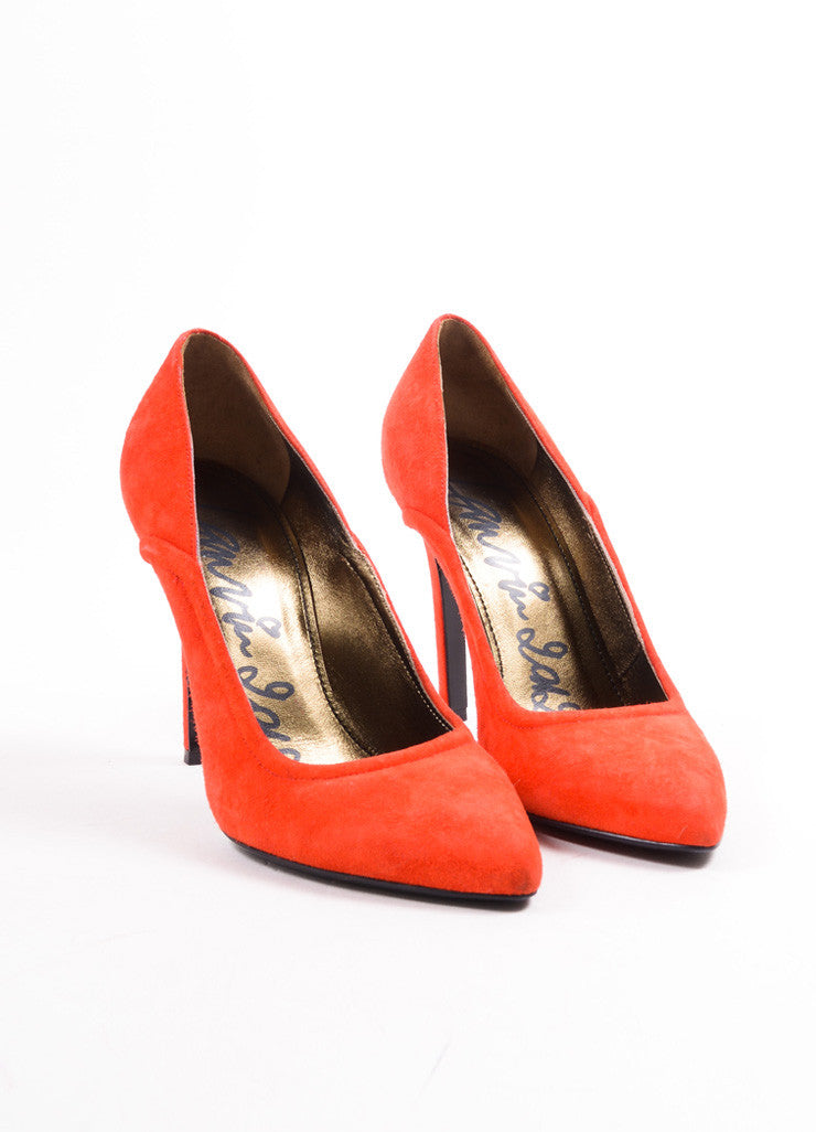 Lanvin Red Suede Pointed Toe Pumps Frontview
