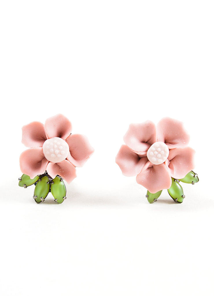Lawrence Vrba Pink and Green Ceramic Clay Flower Earrings Frontview
