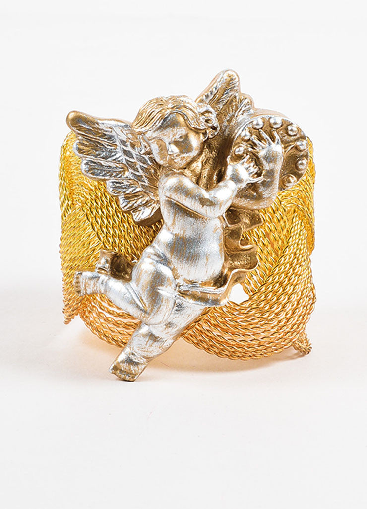 Lawrence Vrba Gold and Silver Toned Twisted Woven Angel Wide Cuff Bracelet Frontview