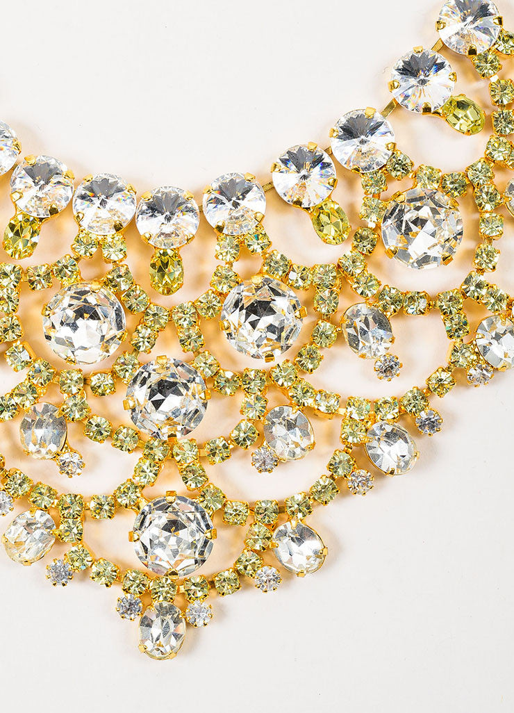 Lawrence Vrba Gold Toned and Green Rhinestone Crystal Bib Statement Necklace Detail