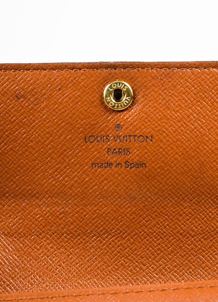 "Louis Vuitton Brown and Tan Coated Canvas Monogram ""Porte-Monnaie Tresor"" Wallet Brand"