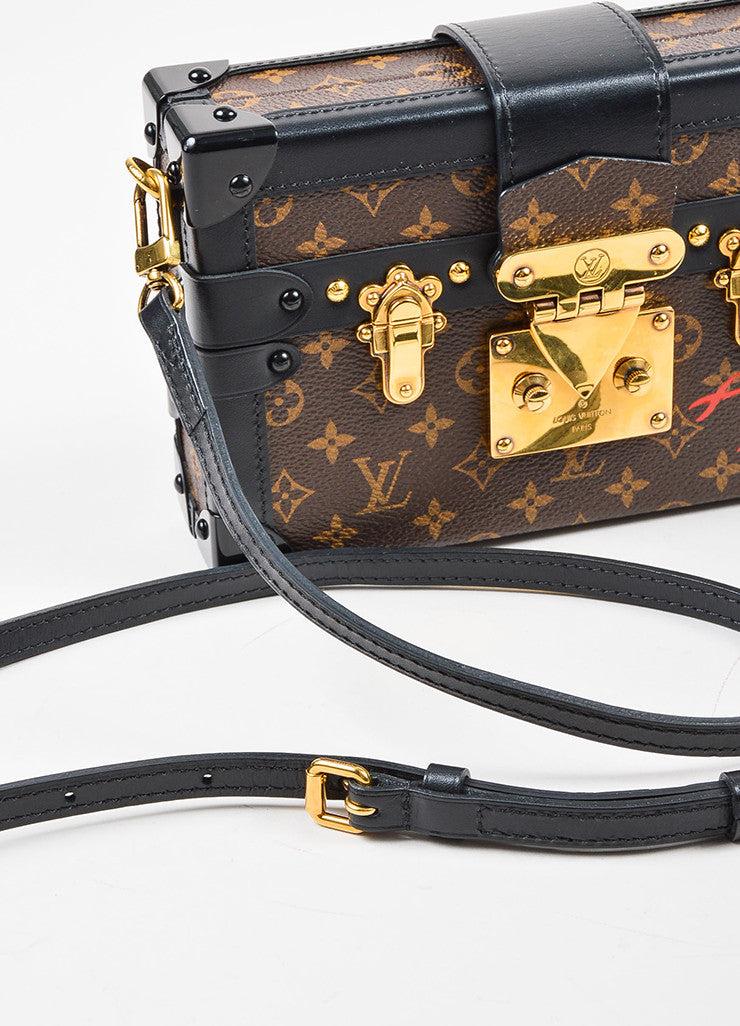 "Louis Vuitton Limited Edition Brown and Black Canvas ""Petite Malle"" Mini Trunk Bag Detail 3"