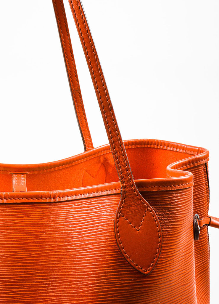 "Louis Vuitton Orange Epi Leather ""Neverfull MM"" Tote Bag Detail 3"