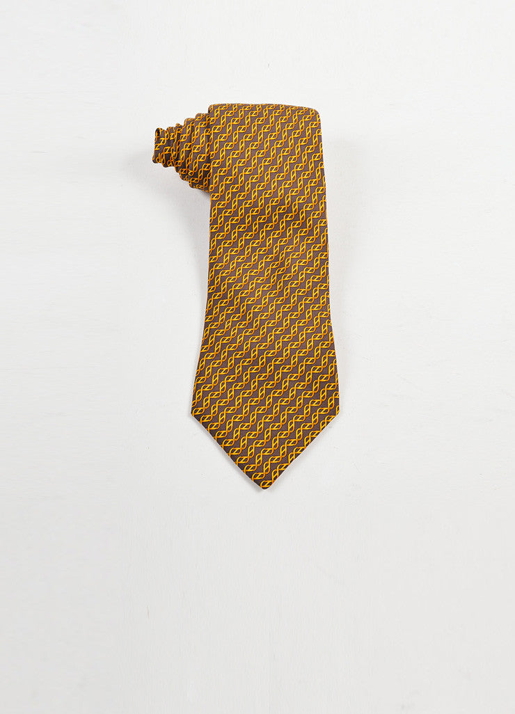 MENS Hermes Brown Orange Gold Silk Print Tie Front