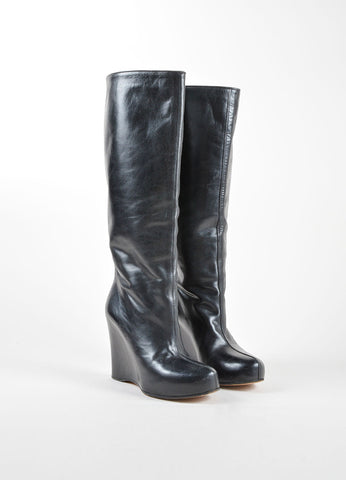 Maison Martin Margiela Black Leather Hidden Wedge and Platform Tall Boots Frontview