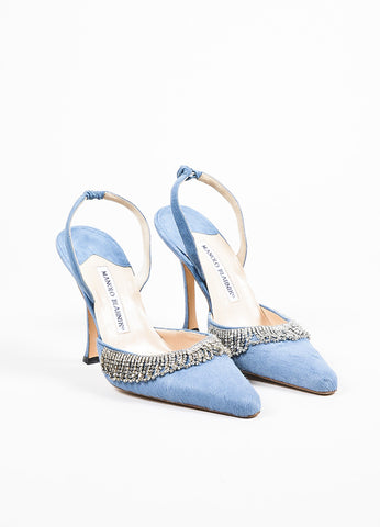 Manolo Blahnik Blue Pony Hair Scalloped Rhinestone Pointed Toe Slingbacks Frontview