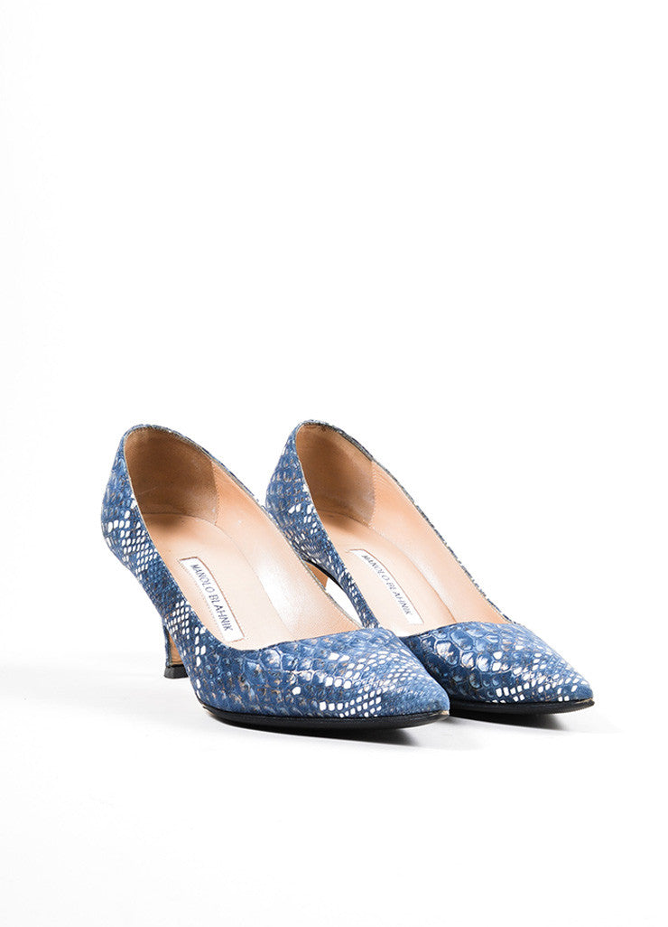 Blue and White Manolo Blahnik Snakeskin Embosssed Suede Pointed Toe Pumps Frontview